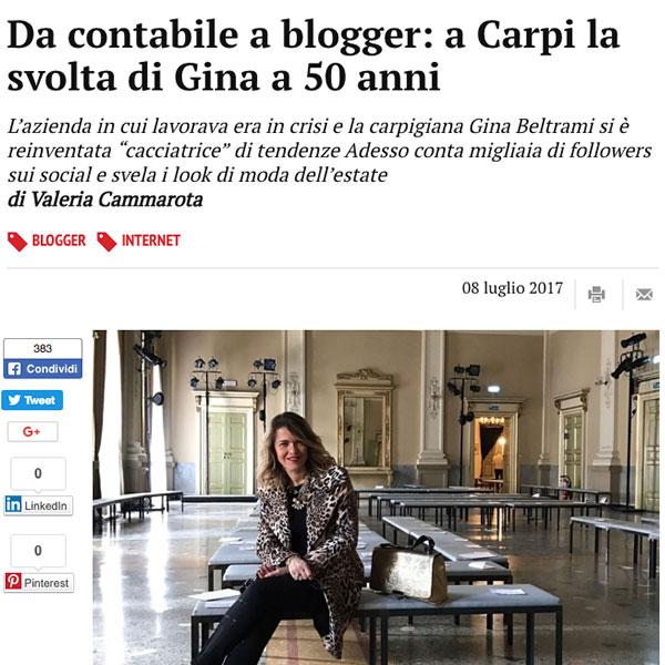 Da contabile a blogger: a Carpi la svolta di Gina a 50 anni
