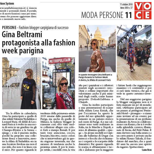 Gina Beltrami protagonista alla fashion week parigina