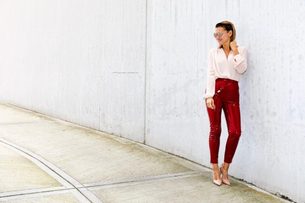 vinyl red pants 2