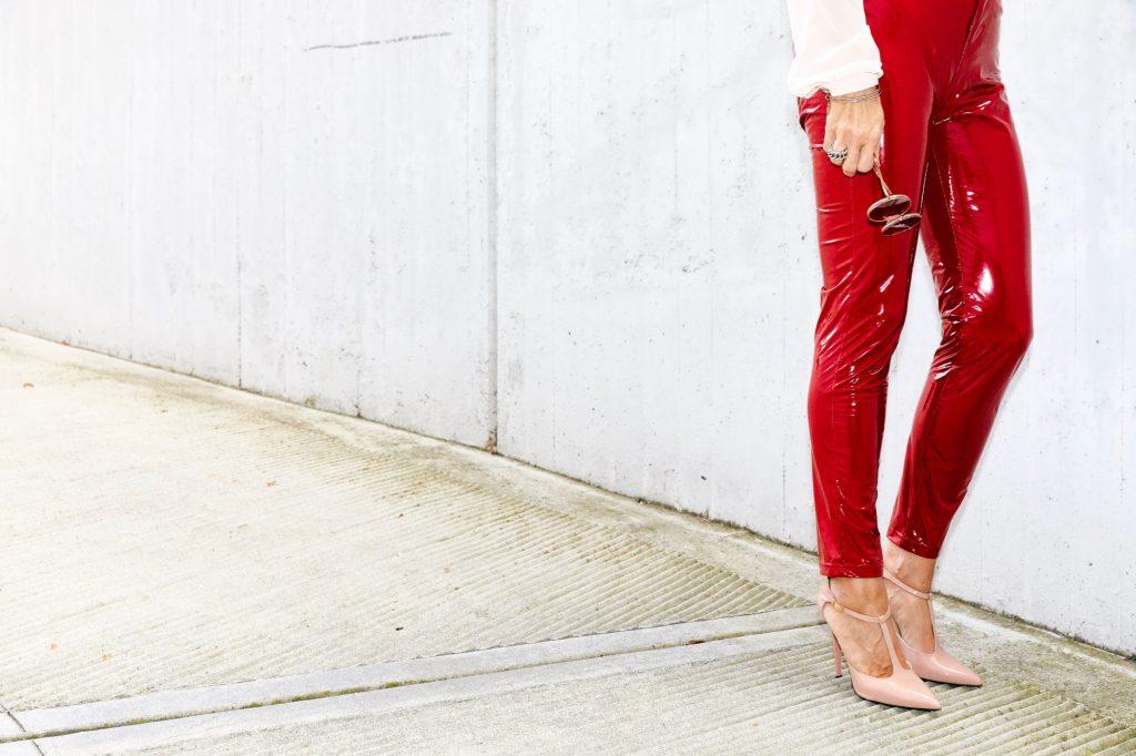 vinyl red pants 7